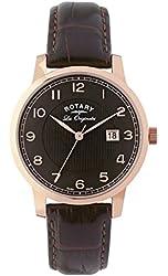 Rotary Gs90077-04 Men's Les Originales Dark Genuine Leather Black Dial Rose-Tone Ss Watch