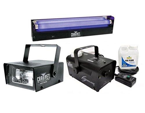 [Chauvet DJ Mini Strobe LED Light Effect + H700 Fog Machine + NVF-18 Black Light] (Small Fog Machines)