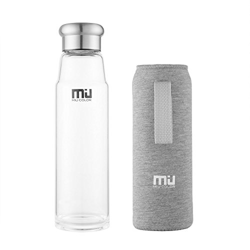 MIU COLOR® Newly-released Bigger Capacity Stylish Portable Handmade High Quality Crystal Glass Water Bottle(22oz/24.5oz Designed in Switzerland) (Grey Sleeve without Tea Infuser)
