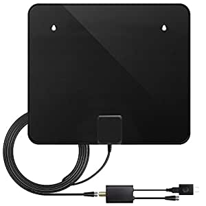 TV Antenna, Upgraded Version Indoor Amplified HDTV Antenna 60 Mile Range with Detachable Amplifier Signal Booster, USB Power Supply and 10 ft High Performance Coax Cable (black)