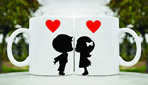 2 Boy and Girl kissing His and Hers 11oz ceramic coffee mug - French Kissing Girls Black