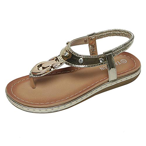 HIRIRI Women' Sequins Simple Retro Roman Style Flip-Flops Outdoor Casual Flat-Bottomed Sandals Summer Beach Sandals Gold