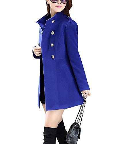 Automne Mode Manteau Saphir Laine breasted Hivers Bleu Veste Double Femme Polyester et Costume F0E8WwFAq