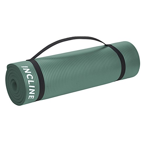 Incline Fit Exercise Mat Extra Thick & Long Comfort Foam Yoga/Exercise Mat with Carrying Strap, Forest