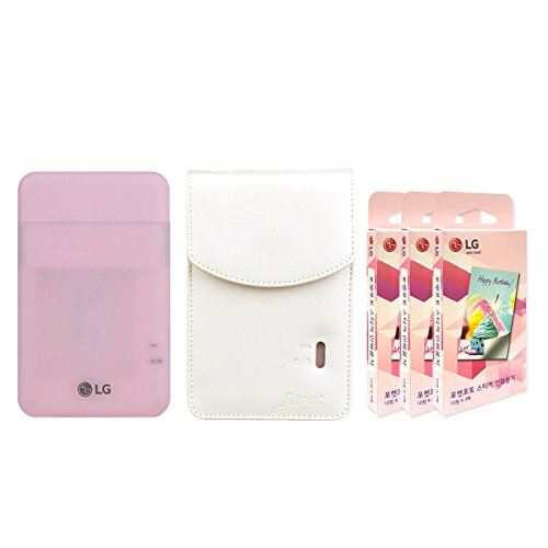 LG PD261 Portable Mobile Pocket Photo Printer [Pink] + Zink Sticker Paper 90 Sheets + Atout Premium Synthetic Leather Case [White] With Gift USB Cable [International Version]