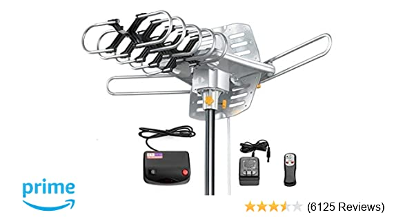 Amazon.com: Amplified HD Digital Outdoor HDTV Antenna 150 Miles Long Range with Motorized 360 Degree Rotation, UHF/VHF/FM Radio with Infrared Remote ...