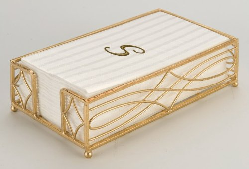 Boston International Guest Towel Caddy, Wave Design in Gold Leaf