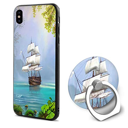- iPhone X Case Sailboat Beauty Beach with Ring Holder 360 Degree Rotating Stand Grip Mounts Slim Soft Protective Cover