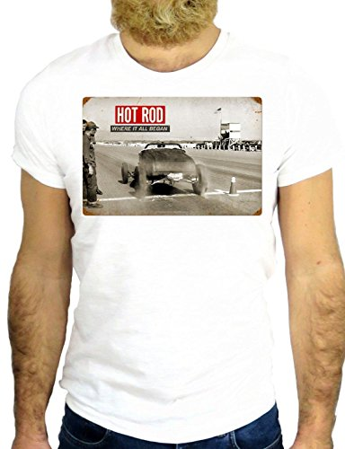 T SHIRT JODE Z1298 HOT ROD CAR VINTAGE RACE GANGSTER COOL LOGO AMERICA USA GGG24 BIANCA - WHITE S