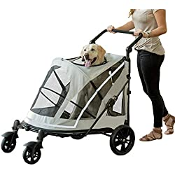 Diamondgift Pet Gear NO-Zip Stroller for Single or Push Button Zipperless Dual Entry