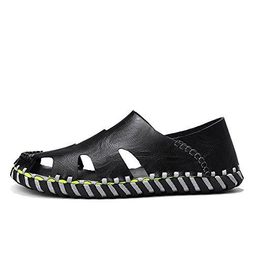 de del Hombres Casual Transpirable Sneakers Cuero de Verano Gran Negro los Sandalias Beach de tamaño qwzEFxXpt