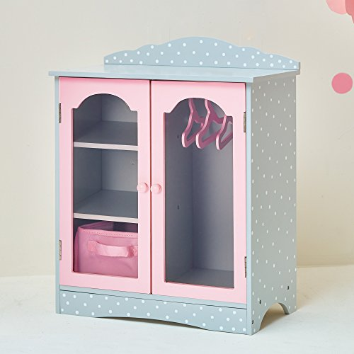 - Olivia's Little World - Princess 18 inch Doll Furniture | Fancy Wooden Closet with 3 Hangers and 1 Cubby (Grey Polka Dots) | Fits American Girls, Our Generation and More