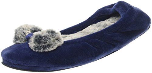 Dearfoams WoMen Velour Ballerina W/Frosted Pile Low-Top Slippers Blue (Peacoat)