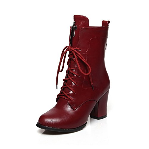 Low Round Red AmoonyFashion Women's Heels Soft Solid High Toe top Closed Leather Boots 0qg16w