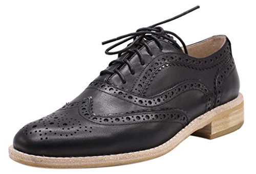 JARO VEGA Women's Comfort Leather Sole Perforated Lace Up Wingtip Vintage Oxford Flats Shoes Black Size 8 by JARO VEGA