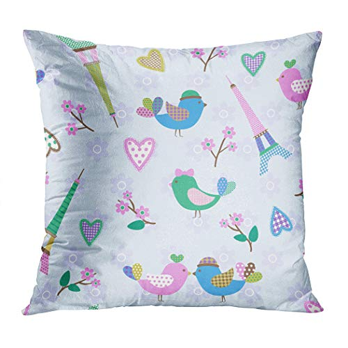 Menmek Throw Pillow Cover Decorative French Styled Pattern Birds Hearts Eiffel Hidden Zipper Car Sofa Meeting Room Home Decor Cushion Cover Pillowcase 20 x 20 Inch