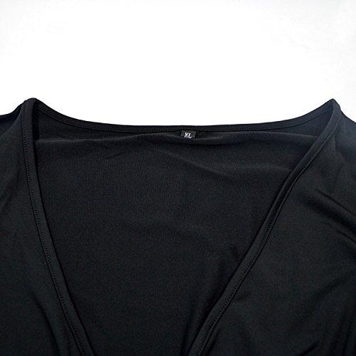 V manga Xl largo de mujer con tama Aisi o Vestido cuello con gran de estampado Z7nAqw