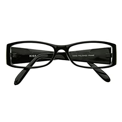 zeroUV - Classic Fashion Slim Frame Optical Eyewear Glasses with Clear Lenses (Black)