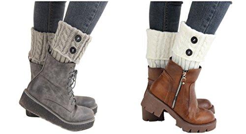 eb9cc86fb Santwo Women Winter Warm Crochet Knitted Boot Cuff Sock Short Leg Warmer 3  Pairs (Model
