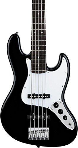 Squier by Fender Affinity Jazz V String Beginner Electric Bass Guitar - Rosewood Fingerboard, Black (5 String Fender Jazz Bass Pickups)
