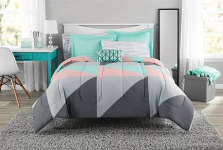 Fun and Bold Mainstays Gray and Teal Bed in a Bag Modern Comforter Set, Geometric Triangle Print with Teal Blue Gray and Pink Coral, Great for Dorms and Kid's Rooms! - Bed Ensemble Silver