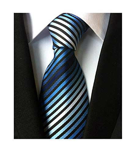 Multicolored Shades - Secdtie Men's Narrow Stripe Pattern Tie Blue White Black Business Necktie TW08