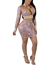 cd200dbb1a0a Sexy 2 Piece Club Outfits For Women Long Sleeve Lace up Bandage Crop Top +  Midi