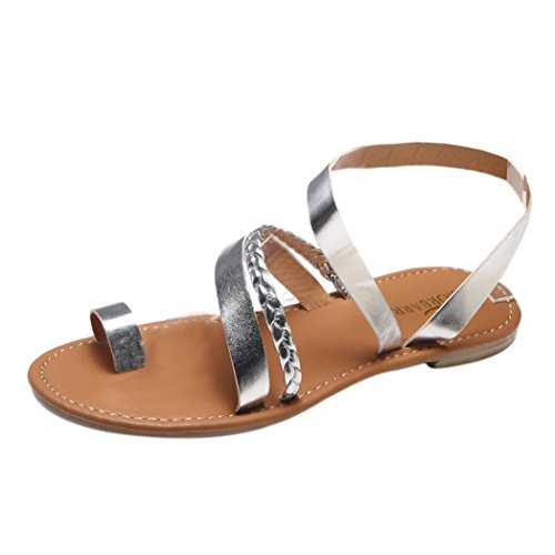 (WOCACHI Women Shoes Summer Strappy Gladiator Low Flat Heel Flip Flops Beach)