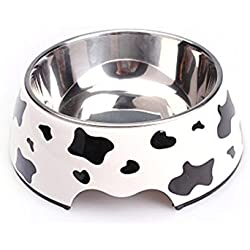 Pet Feeding Watering Bowl,Homeself Removable Melamine Plastic Stainless Steel Non Skid Dog Puppy Cat Pet Bowl, Easy to Clean Dishwasher Safe for Dogs and Cats (Cow Pattern, S)