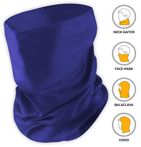 12-in-1 Headband [Solids] - Versatile Sports & Casual Headwear - Wear as a Bandana Neck Gaiter Balaclava Helmet Liner Mask & More. Constructed with High Performance Moisture Wicking Microfiber Navy Blue