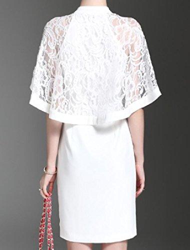 Sheath Solid Coolred Lace Split Dress Women Patchwork Pencil White Classy 6WnvCAncZ
