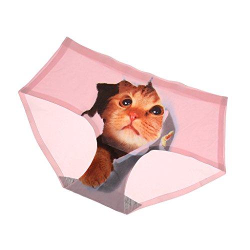 Prettyia 3D Gatto Stampo Underwear Mutandine Biancheria Intima Slip Lingerie per Donna Ragazze Rosa