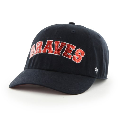 MLB Atlanta Braves '47 Brand Natalie Sparkle Adjustable Cap, One Size, Navy
