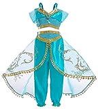 Cotrio Jasmine Princess Costume Girls Arabian Princess Halloween Cosplay Dress up 9-10 Years