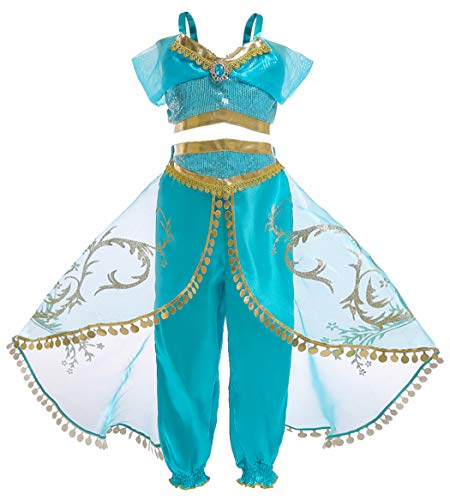 Jurebecia Princess Jasmine Costume for Girls Arabian Dress up Halloween Party Role Play Outfit Age 7-8 Years Size 8 Green]()