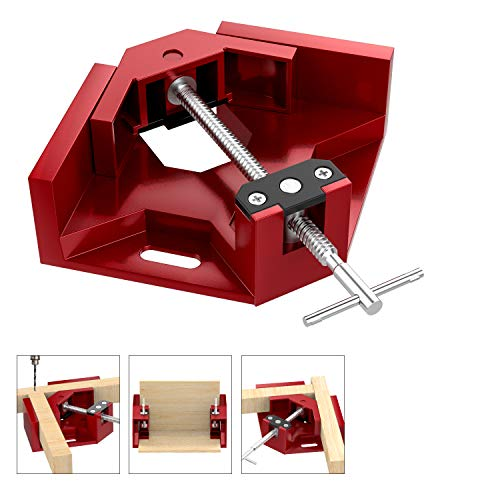 (Housolution Right Angle Clamp, Single Handle 90°Corner Clamp, Aluminum Alloy Right Angle Clip Clamp Tool Woodworking Photo Frame Vise Holder with Adjustable Swing Jaw - Red)