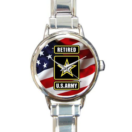 Special Design Military US Army Retired and American Flag Round Italian Charm Watch