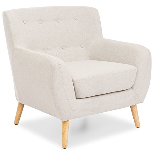 Best Choice Products Mid-Century Modern Linen Upholstered Button Tufted Accent Chair for Living Room, Bedroom - Light Gray