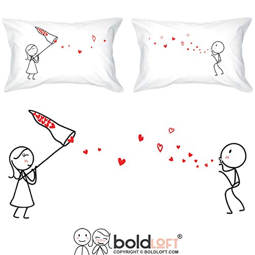 BoldLoft Catch My Love Too Couple Pillowcases- Girlfriend Gifts Fiance Gifts for Her Wife Gifts from Husband Cotton for Her His and Hers Gifts Couples Gifts Wedding Gifts for Couple