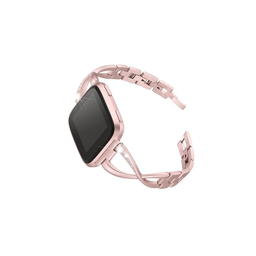 bayite For Fitbit Versa Bands for Women, Stainless Steel Bling Replacement Band Bracelet with Rhinestones Diamond X Link for Fitbit Versa Accessories Watch Band