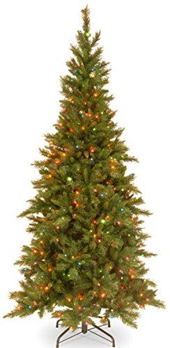 National Tree 7.5 Foot Tiffany Fir Slim Tree with 550 Multicolor Lights, Hinged ()