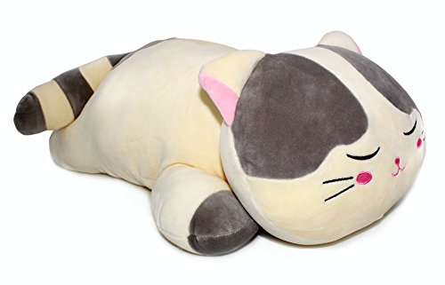 Vintoys Very Soft Cat Big Hugging Pillow Plush Kitten Kitty Stuffed Animals Gray 23.5