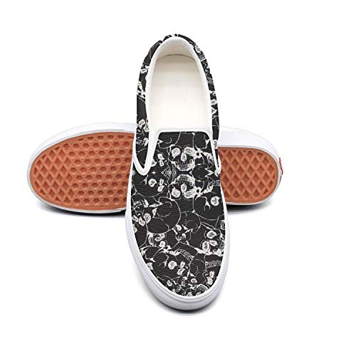 HAHIKOLKOQ Halloween Inspiration with Skull Prints Women's Classics Canvas Shoes Comfortable Fashion Casual Shoes for -