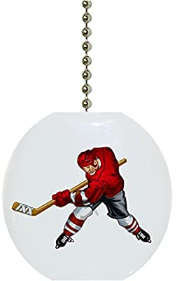 Red Hockey Player Solid Ceramic Fan Pull
