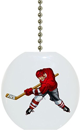 - Red Hockey Player Solid Ceramic Fan Pull