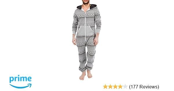 608feea1eec0 SKYLINEWEARS Men s Fashion Onesie Hooded Jumpsuit One Piece non Footed  Pajamas