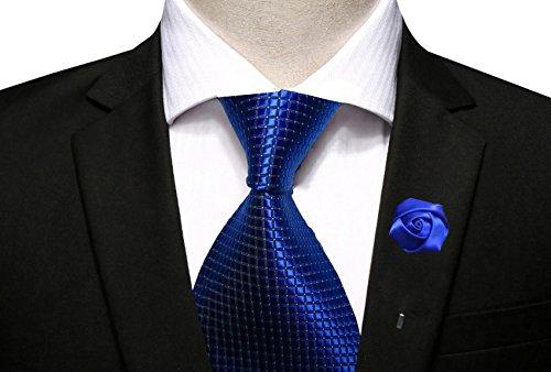 Necktie for Men Jacquard Woven Checkered Tie Wedding Suit Necktie for Men Business (Necktie+Flower Lapel Pin-Royal Blue)