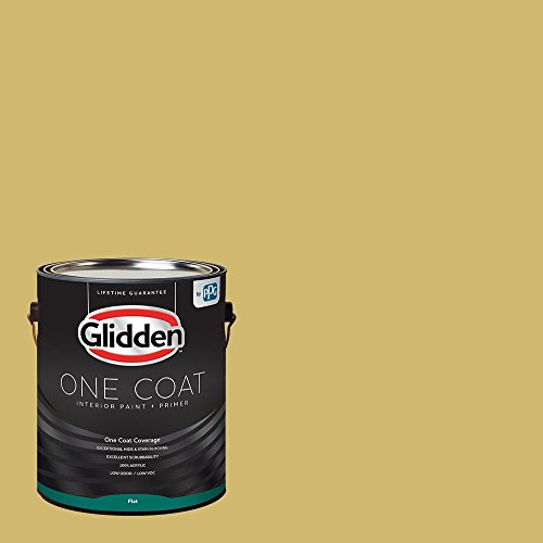 Glidden Interior Paint + Primer: Yellow Interior Paint /Spicy Mustard, One Coat, Flat, 1 - Flat Interior Paint 01
