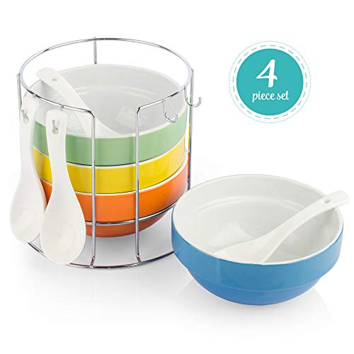 Uno Casa Ceramic Bowls - 4 Piece Serving Bowls for Cereal, Soup and Ice Cream - 12 oz