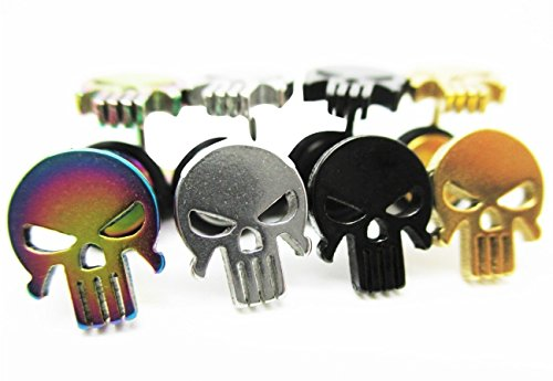 Skull Metal Cutout Stud Post Earrings - New - Pair! - Four Colors to Choose From (Black)